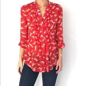Maeve Red Leopard Print Shirt